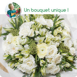 BOUQUET DEUIL PARIS - BOUQUET DU FLEURISTE BLANC